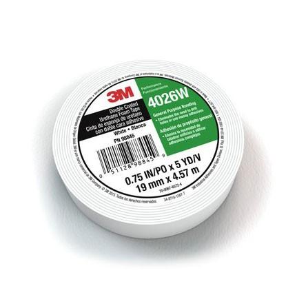 3M 4026W Double Coated Urethane Foam Tape 0.5 in x 5 yd Roll